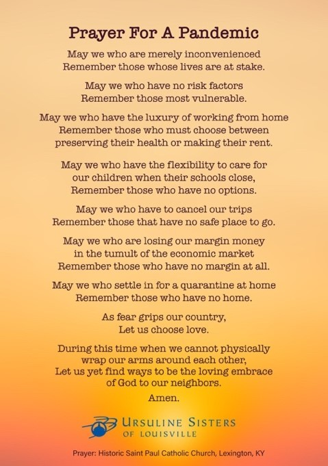 Prayer posted by the Ursuline Sisters of Louisvill
